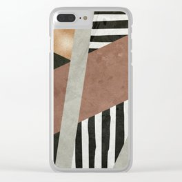 Abstract Geometric Composition in Copper, Brown, Black Clear iPhone Case