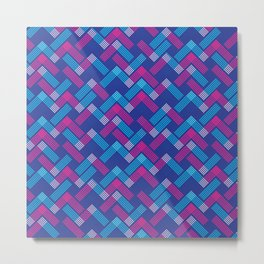 Blue & Magenta Chevron Pattern Metal Print