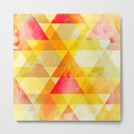 Fab Yellow & Red Triangle Geometric Design Metal Print