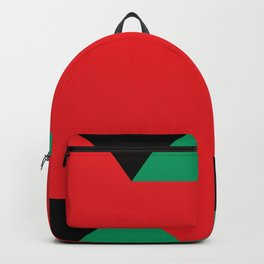 Green triangular base prisms floating in a deep red space. Backpack