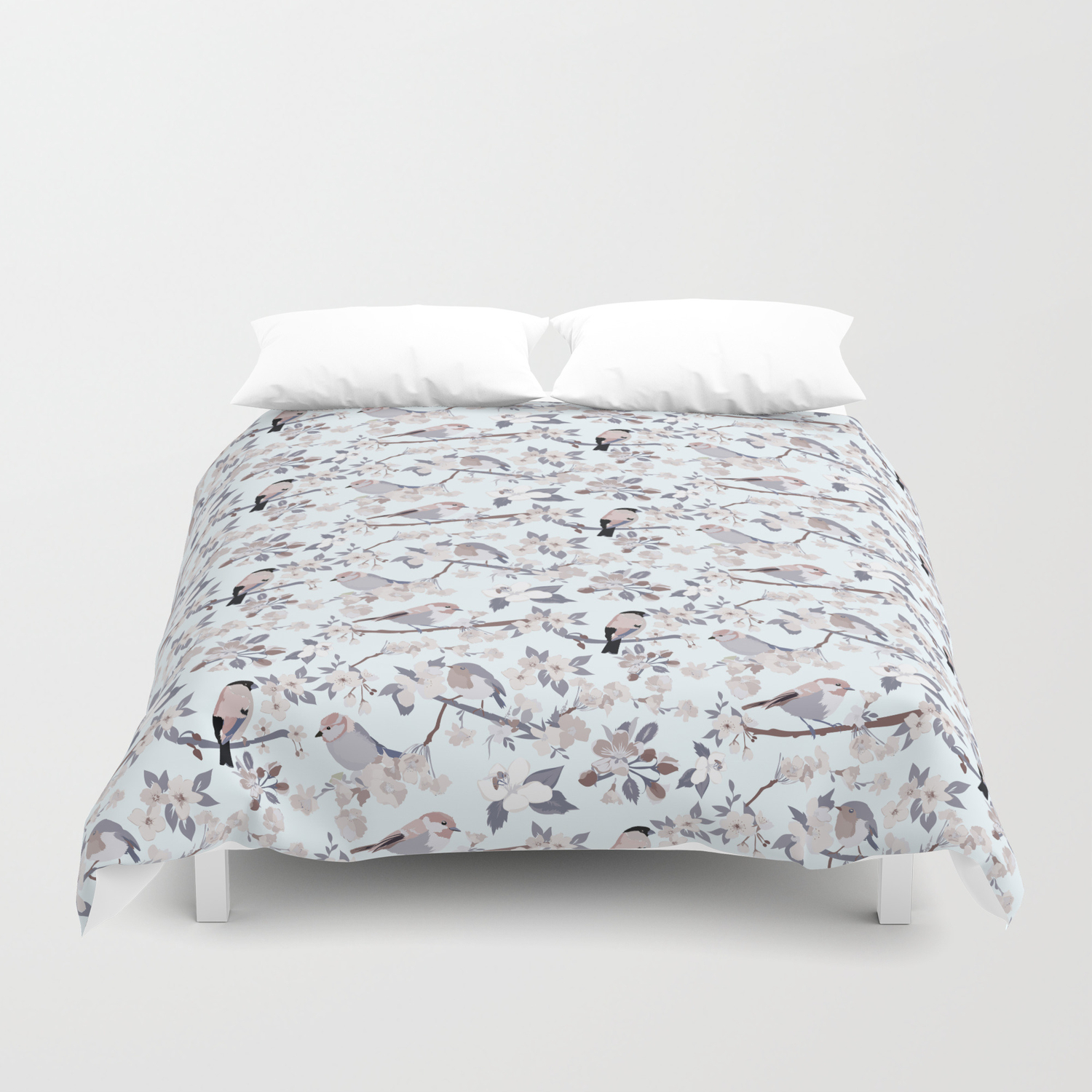 Blossom And Birds Cool Grey Tones Print Duvet Cover By