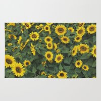 sunflower Area & Throw Rugs featuring Sunflower by adriaaannn