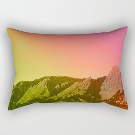Boulder Colorado Flatirons Decor \\ Chautauqua Park Sunset Red Yellow Photo Nature Bohemian Style Rectangular Pillow