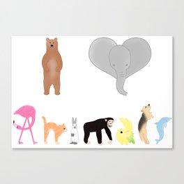 I love Animals colored  Canvas Print