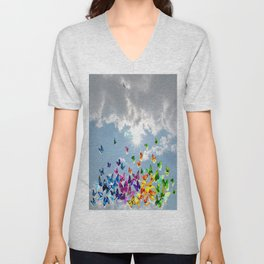 Butterflies in blue sky Unisex V-Neck