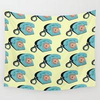 telephone Wall Tapestries featuring Telephone (yellow & aqua) by The Wallpaper Files