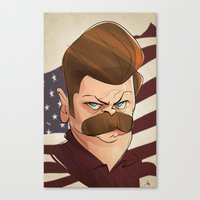 ron swanson Canvas Prints featuring Ron Swanson by nachodraws