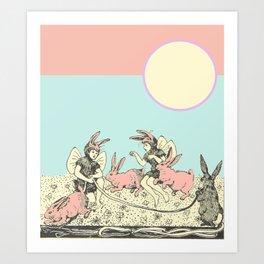 Frolicking Bunnies Art Print