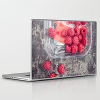 baking Laptop & iPad Skins featuring Raspberries in plastic container on old metal baking tray by Elisabeth Coelfen