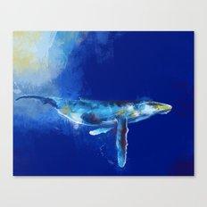 Deep Blue Whale Canvas Print