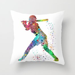Baseball Softball Player Sports Art Print Watercolor Print Girl's softball Throw Pillow