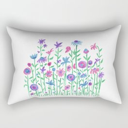 Cheerful spring flowers watercolor Rectangular Pillow