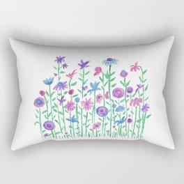 Cheerful spring flowers watercolor Rectangular Pillow