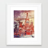 moscow Framed Art Prints featuring Moscow by takmaj