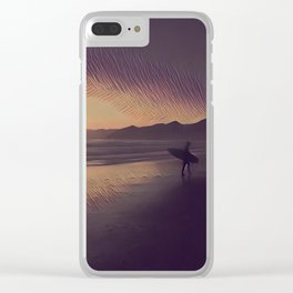 Sunset Surfer Clear iPhone Case