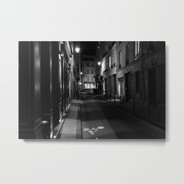 Deserted Paris Street in Black and White Metal Print
