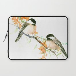 Chickadees and Orange Flowers Laptop Sleeve