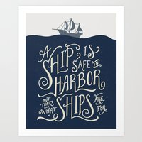 Hand Lettered Inspirational Nautical Quote Illustration Art Print