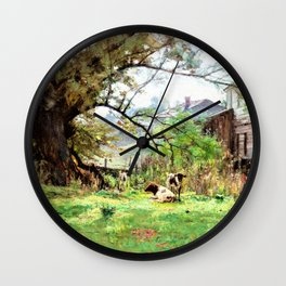 Morning-Old Schofield's Mill - Theodore Clement Steele Wall Clock