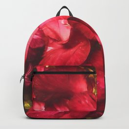 Red Gladiolas on Black Backpack