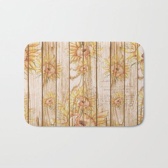 Vintage Sunflowers #9 Bath Mat