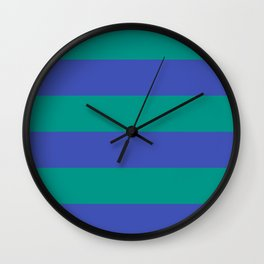 Even Horizontal Stripes, Teal and Indigo, XL Wall Clock