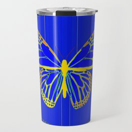 Lapis Blue & Gold Monarch Western Art design Travel Mug