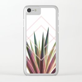 Tropical Desire - Foliage and geometry Clear iPhone Case