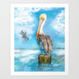 Pelican Barefoot Beach, Florida 2 Art Print