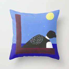 L is for Loon Throw Pillow