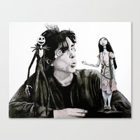 tim burton Canvas Prints featuring Tim Burton by MrSmudgins