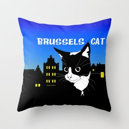 Brussels Cat, Chat de Bruxelles, Belgium Cat. Throw Pillow