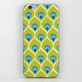 Modern Peacock Feather Blue Green Abstract Pattern iPhone Skin