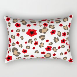 Romantic Leopard Print and Flowers on White Rectangular Pillow