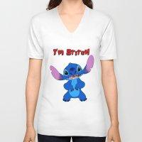 stitch V-neck T-shirts featuring stitch by customgift