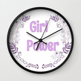 Girl power pink illutration Wall Clock