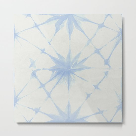 Shibori Starburst Sky Blue on Lunar Gray Metal Print