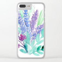 Lavender Floral Watercolor Bouquet Clear iPhone Case