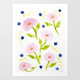 Pink Floral Watercolor Pattern Art Print