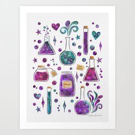 Galaxy Potions - Purple Palette Art Print