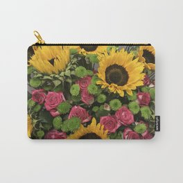 Sunflowers and Little Red Roses Carry-All Pouch