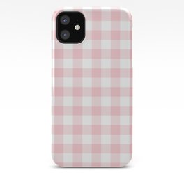 Large Valentine Soft Blush Pink and White Buffalo Check Plaid iPhone Case