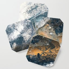 Wander [4]: a vibrant, colorful, abstract in blues, white, and gold Coaster