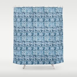ELEPHANT SAFARI Tribal Indigo Ikat Pattern Shower Curtain