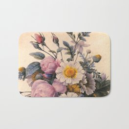 vintage white daisy and pink rose  flowers. P.J. Redoute. Bath Mat