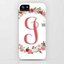 Personal monogram letter 'J' flower wreath iPhone Case
