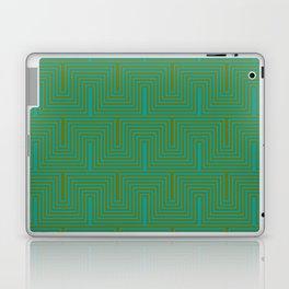 Doors & corners op art pattern in olive green and aqua blue Laptop & iPad Skin
