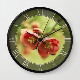 Chaenomeles flowers Wall Clock