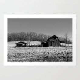Days Gone By - Old Arkansas Barn in Black and White Art Print