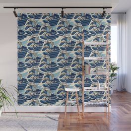 The Great Wave of Pug Pattern Wall Mural